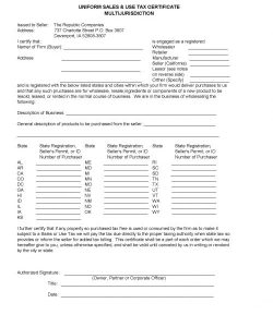 Republic - Sales Tax Exemption form for customers to complete -if tax exempt