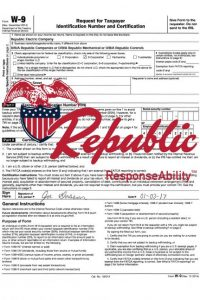 Republic's - W9 Signed and Sales Tax exemption form Signed 01-03-17 - 2017