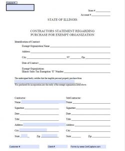 Sales Tax form- Illinois for Contractor to purchase for a tax exempt organization (1)